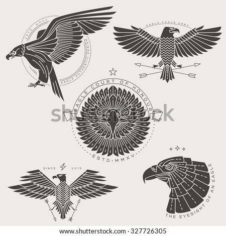 Set of vintage thin line eagle labels & badges. Retro vector design graphic element, emblem, logo, insignia, sign, identity, logotype, poster. Stroke line objects with typographic for t-shirt prints.
