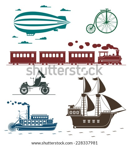 Set of vintage transportation icons: bicycle, zeppelin, train, pirate ship, car, steamboat.  - stock vector