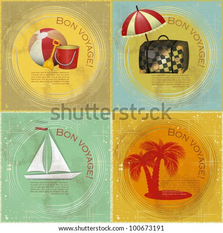 set of Vintage travel postcard - boat, beach toys, suitcase, palm on grunge background - stock vector