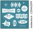 set of vintage u.s.a restaurant signs, panel, badge and label - stock vector