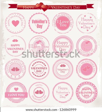 Set of vintage valentine's day love stamp - stock vector