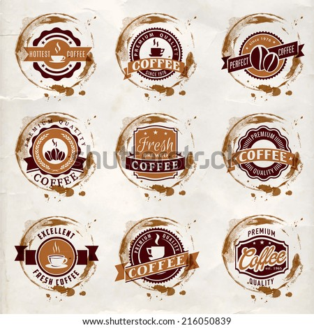 Set of vintage vector coffee logo and labels  - stock vector