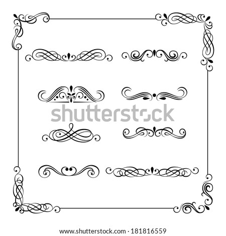 Set of vintage vector frame, border, divider, corner. Retro elements collection. Ornate page decor elements for calligraphy design - stock vector