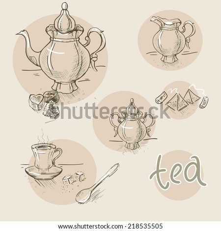 Set of vintage vector hand drawn tea sketch