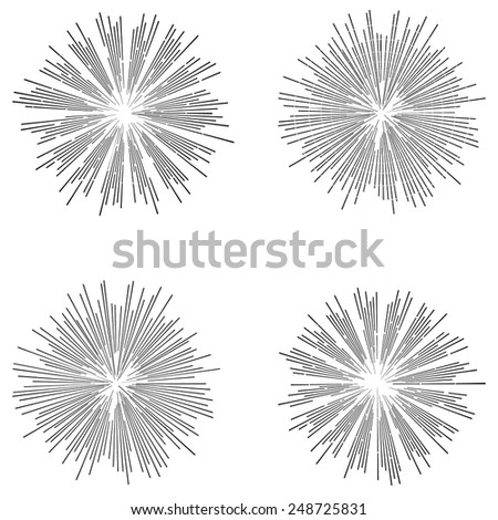 Set of vintage vector illustrations in hipster style. Monochrome stars burst with ray. - stock vector