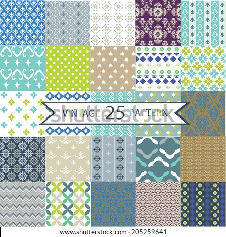Set of 25 Vintage vector seamless patterns