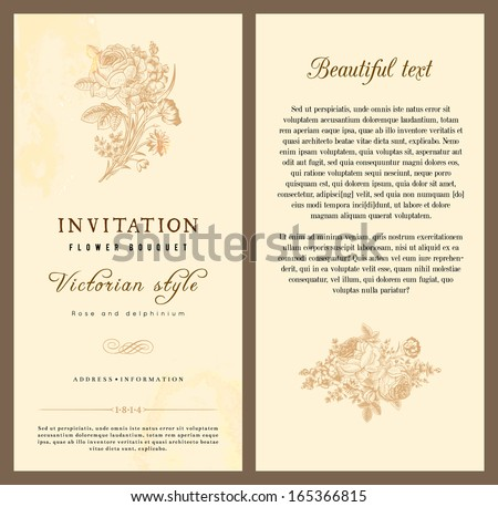 Set of vintage vector vertical invitation with Victorian bouquets of flowers on a beige background light. - stock vector