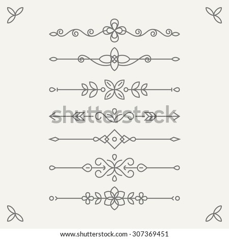 Set of vintage vignettes in trendy linear style on light background. Perfect for greeting cards, retro parties, wedding invitations, birthday greeting cards - stock vector