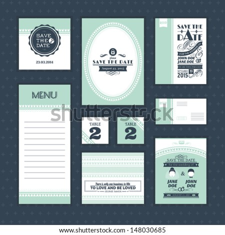 Set of vintage wedding cards - stock vector