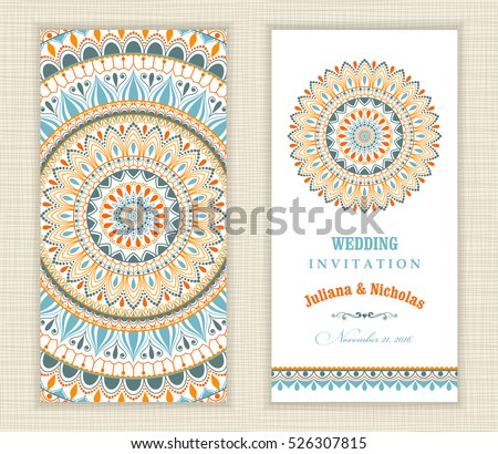 Set of vintage Wedding Invitation card with Mandala pattern and in green, blue and red color.