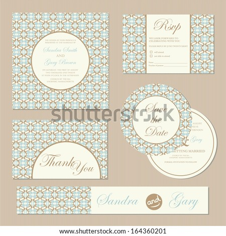 Set of vintage  wedding invitation cards. Vector illustration - stock vector