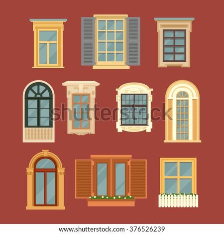 Set of Vintage Windows. Vector illustration in flat style - stock vector