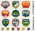 Set of vintage woods camp badges and travel logo emblems - stock vector