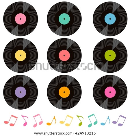 set of vinyl records and music notes - stock vector