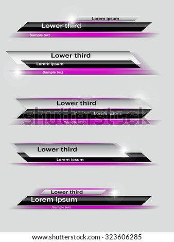 Set of violet, black, gray banners of lower third. Vector illustration. - stock vector