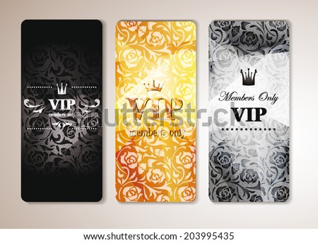 SET OF VIP BANNERS WITH FLORAL DESIGN ELEMENTS - stock vector