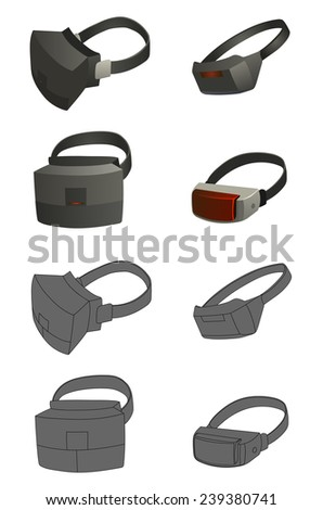 set of Virtual reality devices - stock vector
