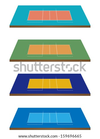 Set of Volleyball Courts in Different Colours 3D Perspective - stock vector