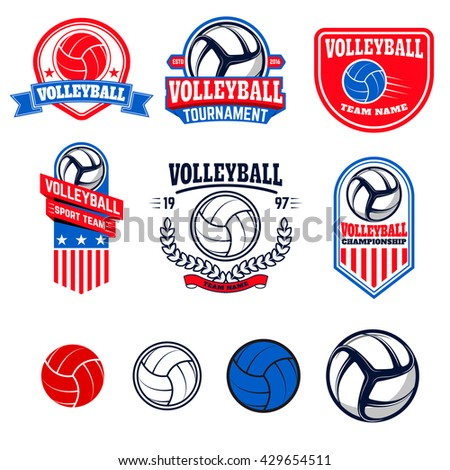 Set of  volleyball labels and logos for volleyball teams, tournaments, championships isolated on white background. Set of volleyball balls. Vector illustration. - stock vector