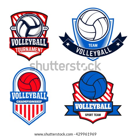 Set of  volleyball labels and logos for volleyball teams, tournaments, championships isolated on white background. Vector illustration. - stock vector