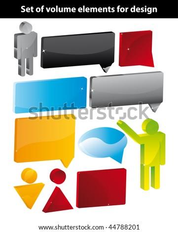 Set of volume elements for design - stock vector