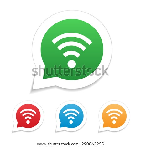 Set of volume icons, red, orange, green, blue, with a picture of wi-fi. - stock vector