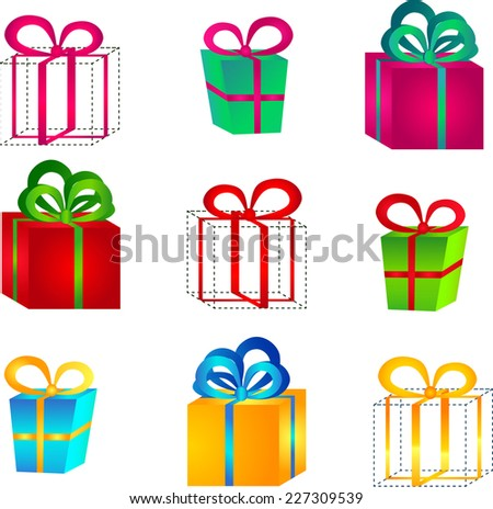 Set of volumetric bright colorful gift boxes with bows for birthday, Christmas or New Year - stock vector
