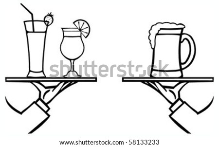 Set of waiter's hands with orders #7 isolated black contour on white background - stock vector