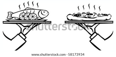 Set of waiter's hands with orders #8 isolated black contour on white background - stock vector
