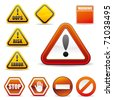 set of warning sign - stock photo