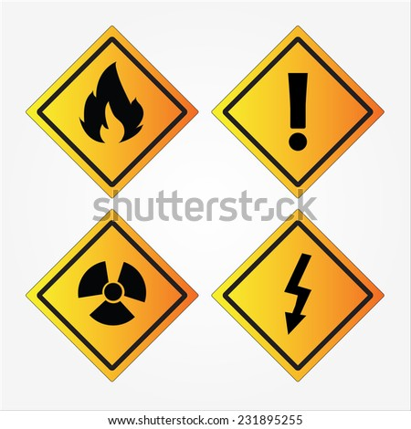 set of warning sign vector on black background    - stock vector