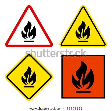 Set of warning signs flammable triangular, square with yellow and red. - stock vector