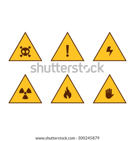 Set of Warning Signs of Danger - stock vector