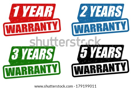 Set of warranty grunge rubber stampson white, vector illustration - stock vector