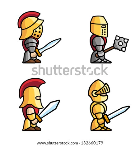 Set of warriors. Each character consist of head, body, two arms and two legs. - stock vector