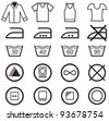 Set of washing symbols - stock vector