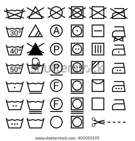 Set of washing symbols. Laundry icons isolated on white background - stock vector