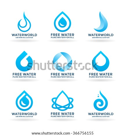 Set of water design elements (5) - stock vector