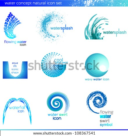 Set of water design elements, logo set - stock vector