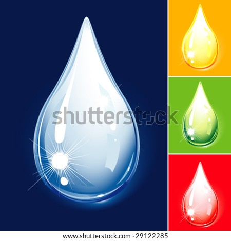 set of water drops - stock vector