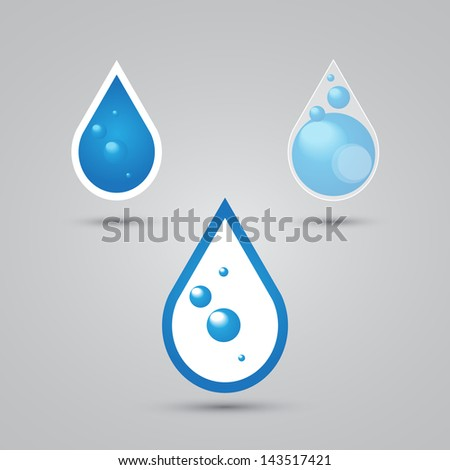 Set of water drops objects - stock vector