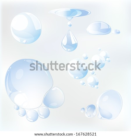 Set of water drops. Vector illustration.