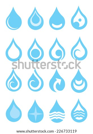Set of water drops with symbols vector illustration. Set of blue and white icons isolated on white background - stock vector