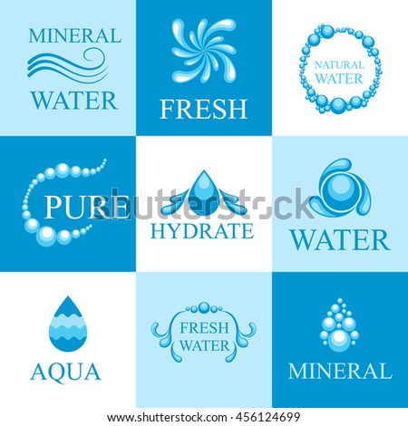 Set of water emblems and labels - stock vector