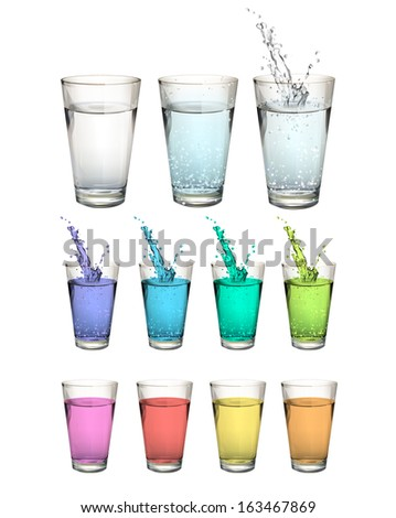 Set of water glasses over white background. Vector design  - stock vector