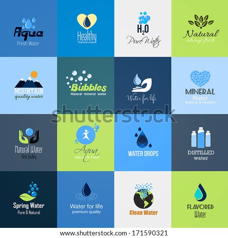 Set of Water icons-cards. Vector - stock vector