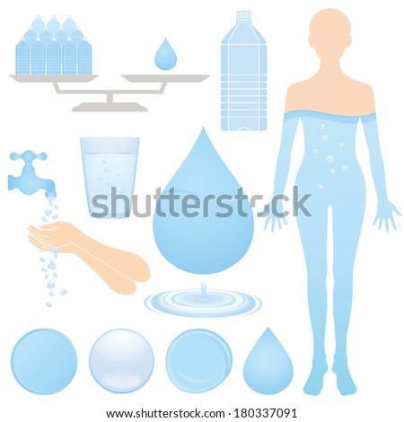 Set of water illustrations. - stock vector
