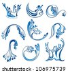 Set of water splashes. - stock vector