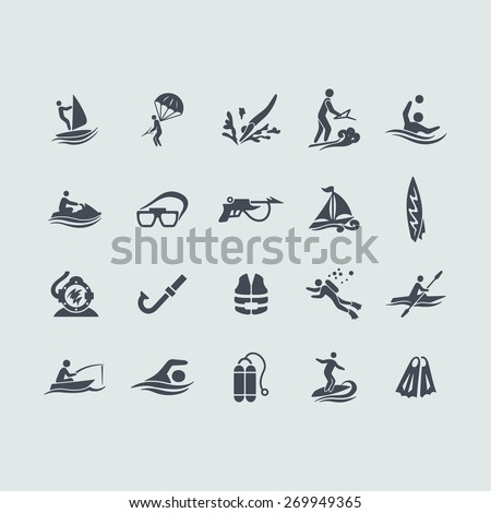 Set of water sports icons - stock vector
