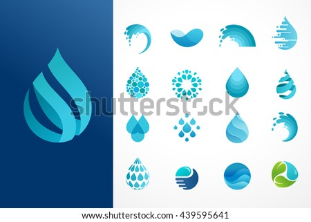 set of water, wave and drop icons, symbols - stock vector